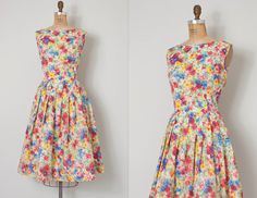 vintage 1950s dress / floral 50s dress / Spring Has by SwaneeGRACE