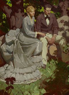 Mead Schaeffer (American, Couple in Garden, Good Housekeeping interior illustration, May 1932 Oil on - Available at 2016 October 12 Illustration. Art And Illustration, Traditional Paintings, Traditional Art, Parcs, Classical Art, Art Auction, American, Dahlia, Bunt