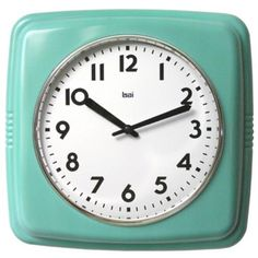 """Possibly for the laundry room. Retro Turquoise 9 1/2"""" Square Wall Clock 