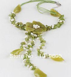 versandkostenfrei elegant hot y form gelbe farbe weiße perle und Olivenöl jade blume halskette