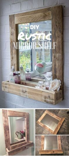 Magnificent DIY Mirrors – DIY Rustic Mirror Shelf – Best Do It Yourself Mirror Projects and Cool Crafts Using Mirrors – Home Decor, Bedroom Decor and Bath Ideas – Step By Step Tutorials With Instruc ..