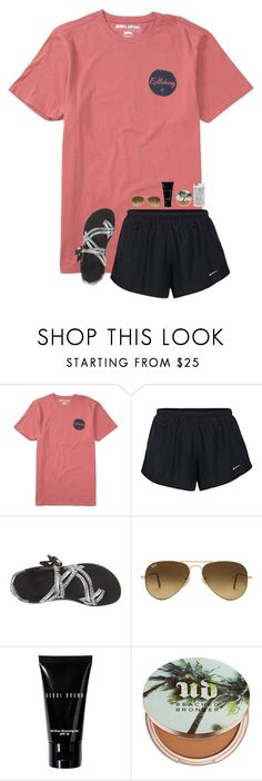 """""""we r fine all by ourselfs"""" by leawhite ❤ liked on Polyvore featuring Billabong, NIKE, Chaco, Ray-Ban, Bobbi Brown Cosmetics, Urban Decay and Casetify"""