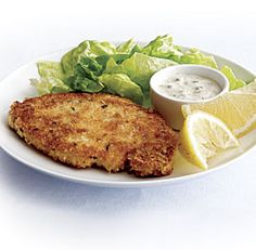 Crisp Pork Cutlets with Lemon-Caper Sauce. Made these tonight and the kids ate them up! Even the toddler! Swap the panko for crushed Ritz crackers & eliminate the salt for the breadcrumbs, though. Ritz crusts are my kidfood ace.