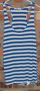 $11.95 Women's Old Navy Blue & White Stripe Racer Back Tank Top Shirt Size: Large Free Shipping