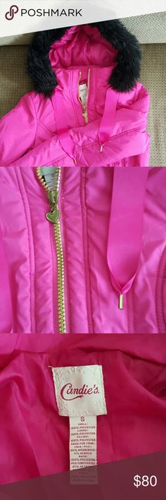 Bright Pink Festival Jacket! Wore this jacket once to Northern Nights and it was perfect for partying once the sun went down! So cute with pink ribbons and black vegan fur! Stay warm my festival friends! Candie's Jackets & Coats Puffers