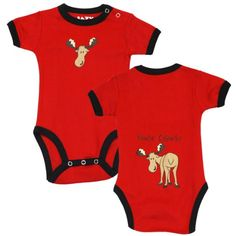 "Amazon.com: Lazy One Infant Baby Onesie Creeper ""Moose Caboose"": Clothing"