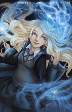 This is Luna Lovegood. Her house is Ravenclaw who only take in smart and thoughtful people. Harry Potter World, Fanart Harry Potter, Images Harry Potter, Wallpaper Harry Potter, Mundo Harry Potter, Theme Harry Potter, Harry Potter Drawings, Harry James Potter, Harry Potter Characters