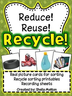 This unit about recycling includes 24 real picture cards: 6 examples of metals, 6 examples of plastics, 6 examples of rubber and 6 examples of paper. The same 24 cards are included with and without labels.