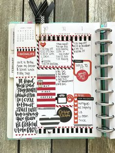 RED & BLACK THEMED FEBRUARY WEEK IN THE CLASSIC 'SUPER FUN' HAPPY PLANNER® BY MARY-ANN MALDONADO | me & my BIG ideas