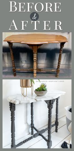 Before and After | Faux Marble Effect | Salvaged Inspirations #siblog #salvagedinspirations #paintedfurniture #furniturepainting #DIYfurniture #furniturepaintingtutorials #howto #furnitureartist #furnitureflip #salvagedfurniture #furnituremakeover #beforeandafterfurnuture #paintedvintagefurniture #roadsiderescues #chalkpaint #chalkpaintedfurniture #diyprojects #diyfurnituremakeover #furniturerestoration #furnitureideas Diy Resin Furniture, Painted Furniture For Sale, Refurbishing Furniture, Small Furniture, Paint Furniture, Repurposed Furniture, Furniture Projects, Furniture Makeover, Interior Ideas