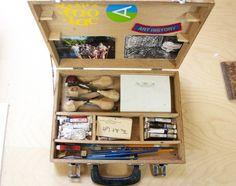 Brian Hoad's printmaking kit. #sparkboxstudio #artistretreat #printmaking