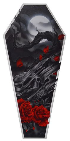 Coffin Shaped Stretch Canvas Artwork - Features 'The Sad Truth' - Artwork by Aaron Cox - Measures: 3 Feet Tall - By: Lowbrow/Black Market Art Company