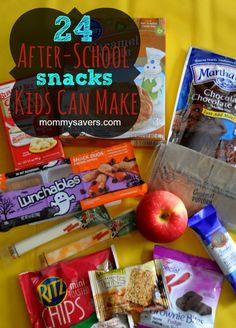 24 After-School Snacks Kids can make - from grab-and-go for younger kids to simple recipes that older kids can make with toasters and microwaves.  Plus, they're frugal!
