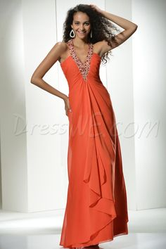 Occasion, Graceful A-Line V-Neckline Floor-Length Prom Dress, Dresses,99.99