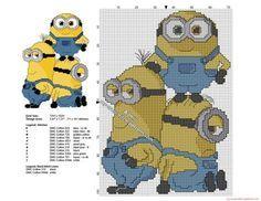 Les Minions ensemble grille point de croix 71 x 101 croix 11 couleurs DMC