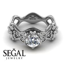 Flower Engagement Ring by Segal Jewelry Elegant Engagement Rings, Princess Cut Engagement Rings, Rose Gold Engagement Ring, Wedding Ring Bands, Oval Engagement, Engagement Ring Buying Guide, Wedding Rings Vintage, White Gold Rings, Diamond Rings