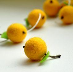 Felt ball yellow apple garland - 30 felt balls 8 feet. $22.00, via Etsy.