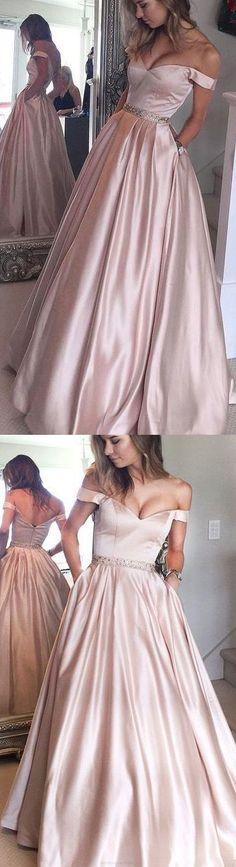 Off-the-Shoulder Prom Dresses, Champagne Long Evening Dresses, A-line Off-the-shoulder Floor-length Satin Prom Dress/Evening Dress G293
