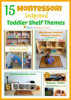 This is a lovely collection of 15 Montessori toddler shelf themes to enjoy with a child from 1-3 years old.  - www.mamashappyhiv...