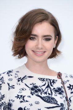 Lily Collins Short Wavy Cut - Short Hairstyles Lookbook - StyleBistro