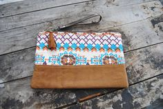 Aztec upcycled leather clutch // recycled by aperfectmessvintage