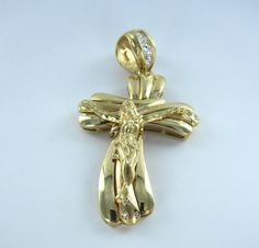 14KT YELLOW GOLD PENDANT BIG CROSS SYK 3D CRUCIFIX JESUS CHRISTIAN CHRIST CHARM