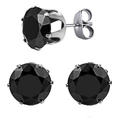PAURO Womens Jewelry Stainless Steel Exquisite Cubic Round Zirconia Shiny Stud Earrings Black Diamond Large *** Read more  at the image link. Note:It is Affiliate Link to Amazon.