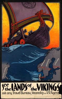 See the Land of the Vikings - Vintage Norway Travel Poster - Scandinavian