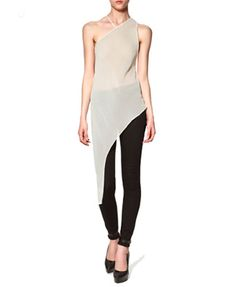 White Nude Sheer Asymetric Sleeveless Chiffon Top @ ChicNova $26