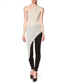 White Nude Sheer Asymetric Sleeveless Chiffon Top @ ChicNova $26
