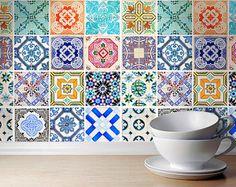 Portugiesische Fliesen Muster (48 Fliesen Decals) Fliesen Sticker - Fliesen für die Küche Backsplash oder Fliesen für Badezimmer    Mehr Kunst,