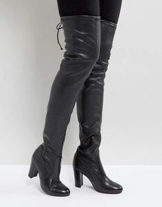 399326f9762 Dune Sybil Leather Over Knee Boots Wedge Boots
