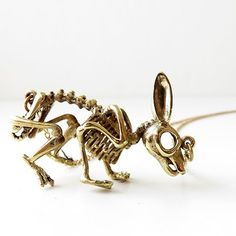 Brass Rabbit Skeleton Pendant