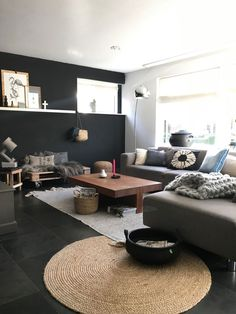 Living Area, Living Room, Inside Home, Black Walls, Cozy House, Sweet Home, New Homes, Layout, House Design