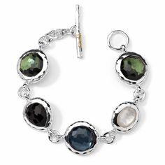 Ippolita STERLING SILVER WONDERLAND 5-STONE BRACELET $  Gemstones: Mother-of-Pearl and Onyx   Colors: Fern and Indigo