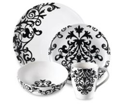 Rococo Black and White Dinnerware Set  sc 1 st  Pinterest & 222 fifth damask floral round soup bowls - black/white - s/4 | Find ...