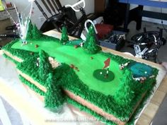 Homemade Golf Cake: This Golf cake was made by my cousin and myself for my aunt and uncle's ( my cousin's Mom and Dad) for their 40th Wedding Anniversary party.   It took