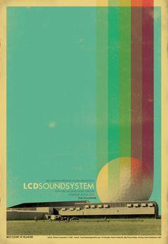 LCD Soundsystem poster by Uprising. #retro #screenprint #buckyfuller