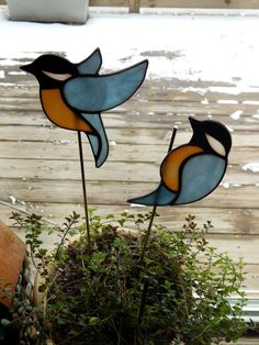 Stained Glass Chickadee Pot Sticker/Garden by RedfordGlassStudio
