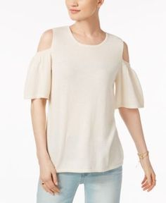 Charter Club Cashmere Cold-Shoulder Sweater, Only at Macy's - Ivory/Cream XL