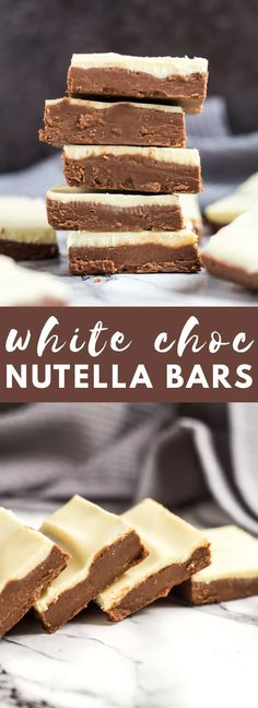 No-Bake White Chocolate Nutella Bars-Deliciously creamy and fudgy no-bake Nutella bars topped with white chocolate. A perfect quick and easy chocolate treat!