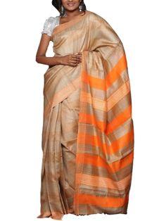 Beautiful stripe combination of peach and bright orange on tusser silk - Ecostree