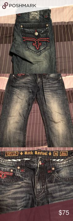 Men's Rock Revival Jeans W/ Red Stitching Rock Revival Jeans W/ Red Sticking   Size 34x32  Hardly worn, no damage Rock Revival Jeans Straight