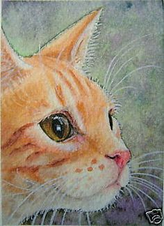 ACEO RED TABBY CAT PAINTING PRINT BY SUZANNE LE GOOD | eBay