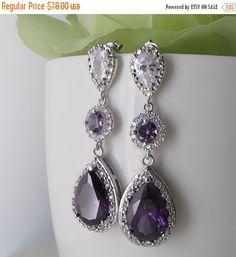 AAA Purple Amethyst Cubic Zirconia Statement by MaciDesign on Etsy Purple Wedding Jewelry, Wedding Earrings, Bridal Jewelry, I Love Jewelry, Jewelry Necklaces, Women Jewelry, Unique Jewelry, Jewellery, Jewelry Ideas