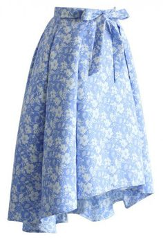 Sky Blue Jacquard Floral Waterfall Skirt - it's on sale and low in stock. You can buy it at $43.