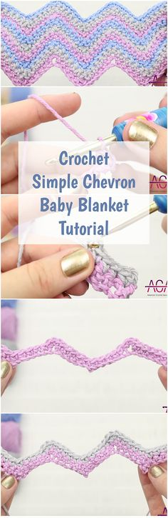 Crochet Simple Chevron Baby Blanket Tutorial - With A Video Guide - Crochet baby - Sewing Samples Crochet Baby Blanket Tutorial, Beginner Crochet Tutorial, Crochet For Beginners Blanket, Crochet Patterns For Beginners, Crochet Blanket Patterns, Crochet Blankets, Crochet Tutorials, Video Tutorials, Free Tutorials