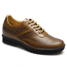 Yellow Brown Burnish Calf Leather Elevator Casual Shoes With Lifts $145.00