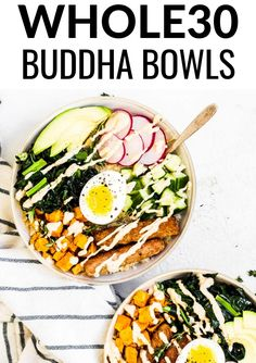 Paleo Breakfast Buddha Bowl Easy to make and prep ahead buddha bowls loaded up with all kinds of protein, veggies and fiber. The perfect breakfast, lunch or easy dinner. Whole 30 Breakfast, Paleo Breakfast, Breakfast Bowls, Whole 30 Lunch, Biscotti, Paleo Recipes, Real Food Recipes, Cheap Recipes, Budget Recipes