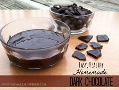 I WILL NEVER BUY CHOCOLATE AGAIN. Easy, Healthy Homemade Dark Chocolate ½ cup natural organic cacao powder ¼ cup coconut oil, melted T pure raw honey or pure maple syrup* ½ tsp pure vanilla extract pinch of sea salt Paleo Dessert, Healthy Desserts, Delicious Desserts, Dessert Recipes, Yummy Food, Healthy Drinks, Dark Chocolate Recipes, Chocolate Smoothies, Chocolate Shakeology